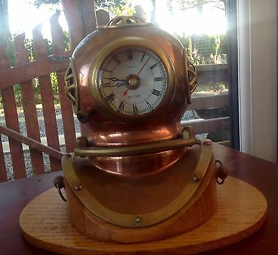 Divers Brass Helmet Clock On Wooden Stand