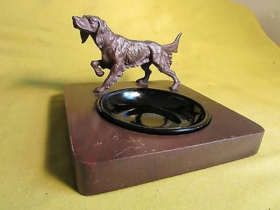 Vintage Bronze Color English Setter Ashtray & Insert,Irish Setter Ashtray,SUPER!