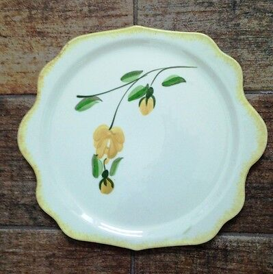 Vintage Cake Plate by Blue Ridge Southern Potteries Hand Painted Yellow Flowers