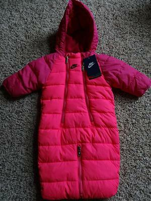 NEW Infant Girls NIKE Pink FLEECE LINED HOODED SNOWSUIT   Size 3-6 Months