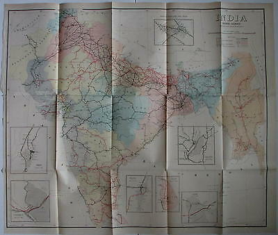 British India 1911 huge antique Railroad map Land Office Calcutta rarity color