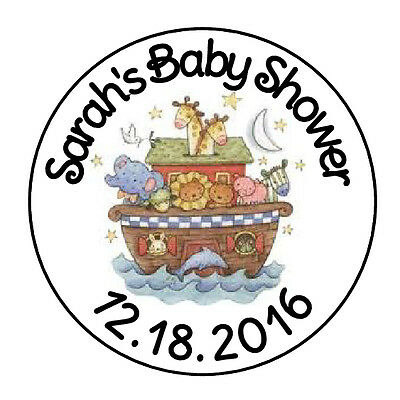 "24 Personalized Noahs Ark Baby Shower Favor Labels Round Stickers 1.67"" *"
