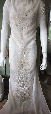 Antique Embroidered Batiste Cotton Panel for Wedding Gown/Dress Ayrshire Lace