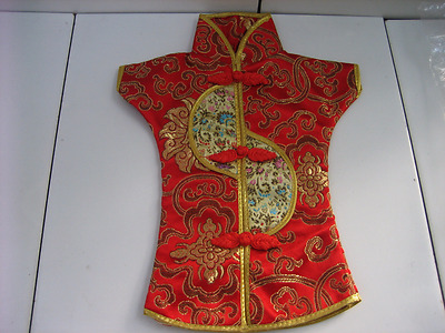 Vintage Decorative Red/Gold Chinese Patterned Doll Clothing w/ Symbolism