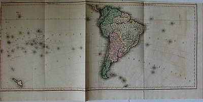 South America rare c.1820-30 Hamilton Lizars huge oversized continent NZ
