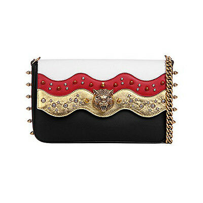 43799d2c45 GUCCI BROADWAY SPIKED Chain Shoulder Bag 432410 Black White Gold NWT -   2