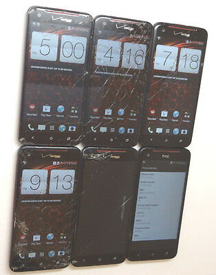 Lot of 6 HTC Droid DNA HTC6435L Verizon Unlocked Smartphones Power On AS-IS