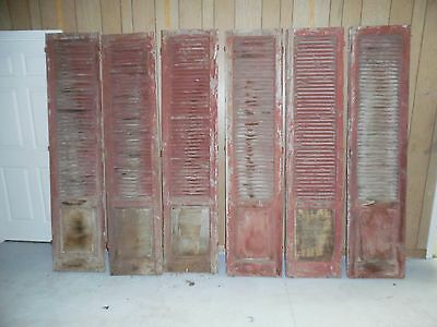 Tall Antique 3 Pair House Painted Louvered Shutters Shabby  18 1/2 x 83 1/4