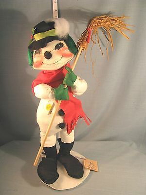 """Annalee Dolls 21"""" Snowman with Broom - 7525 1989 HANG TAG -EXCELLENT CONDITION"""