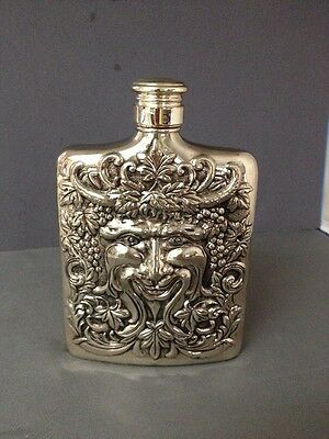 """1983 Godinger Silver Plated Bacchus Flask 6"""" Tall Hip"""