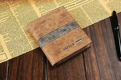 New Men's Short Leather Clutch Wallet Pocket ID Card Bifold Purse Money Clip US