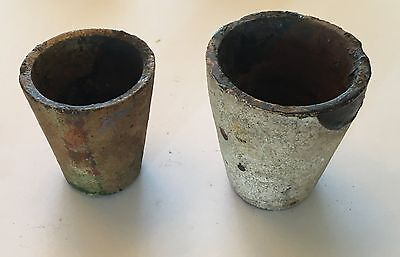 Pair of Pre 1900's  Vintage Antique Clay Gold Miners Mining Crucibles