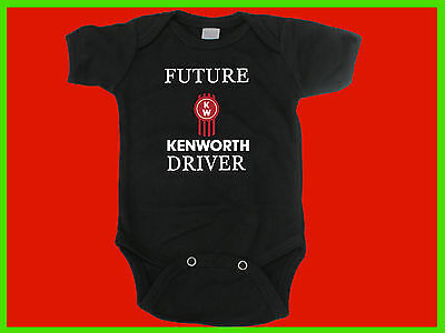 Funny Baby One Piece Romper. Future Kenworth Driver. Cotton. Baby Shower Gift