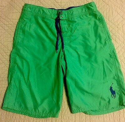 EUC! Ralph Lauren POLO Swimsuit Boys Medium 10 12 Green Swim Trunks NICE