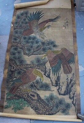 Chinese or Japanese Scroll Item #48 (falcons)