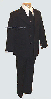 NEW FORMAL BOY 5 PCS DARK Navy SUIT SET Long Tie(Sz 4/5/6)Wedding/Holiday/Event