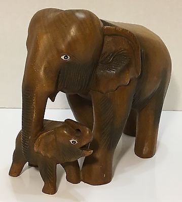 Elephant Statue - Hand Carved Wood Elephant With Calf In Tow