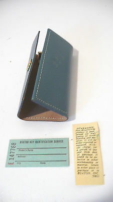 BUXTON u   Vintage key holder  NWOT  blue 4 key rings case trifold