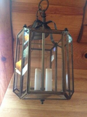 Vintage Antique Metal Brass? Carriage Porch Light, Rustic Natural Aged, Glass