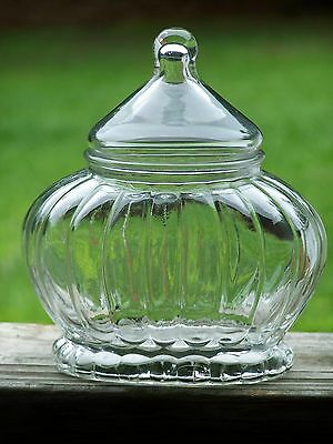 Vintage/Antique Clear Art Glass Fancy Apothecary Jar~Vanity~Powder~Candy~Wedding