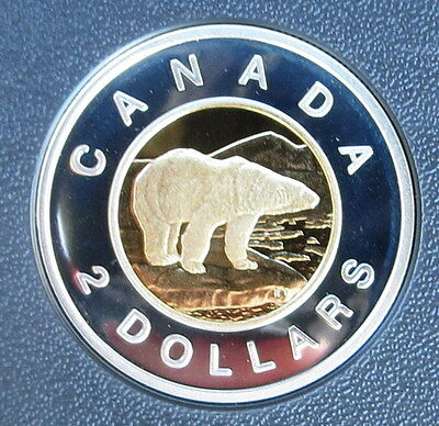 2004 Canada Silver $2 Dollar Toonie With gold plating -Proof Polar Bear