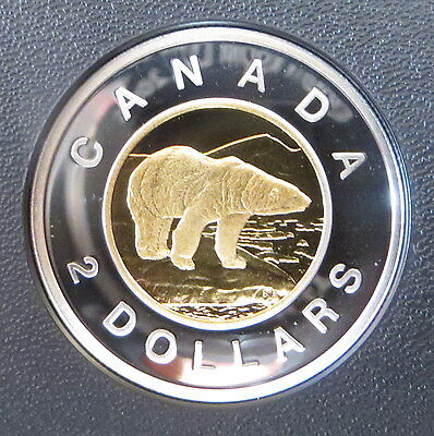 2003 Canada Silver $2 Dollar Toonie With gold plating - Proof Polar Bear