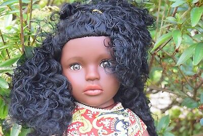 """Large 16"""" Adia Baby Girls Afro African Black Doll Real Look 40Cm"""