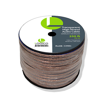 Car Home Audio Speaker Wire 10 Gauge 250 ft Audio Speaker Cable 10AWG 250'