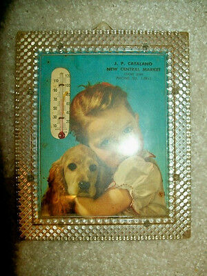 1940s/1950s Advertising Thermometer-Little Girl With A Dog-Catalano's Cleveland