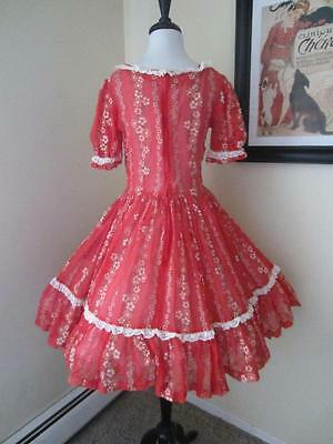 Vintage Square Dance Dress Ruffle Red Daisy Floral Print Very full Skirt 50s M