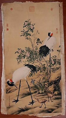 Exquisite Long Old Paper Chinese Hand Painting Cranes Marked LangShiNing KK412
