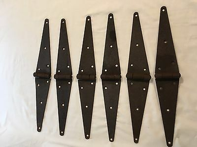 "Set 6 20"" Antique Barn Door Strap Hinges Cast Iron Primitive Industrial Gate VTG"