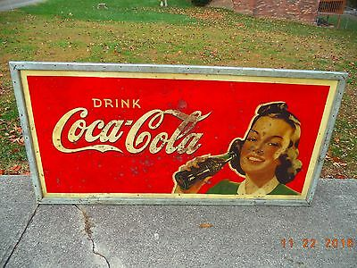"Vintage 1941 Drink Coca Cola  Sign   70"" X 34""     RARE"