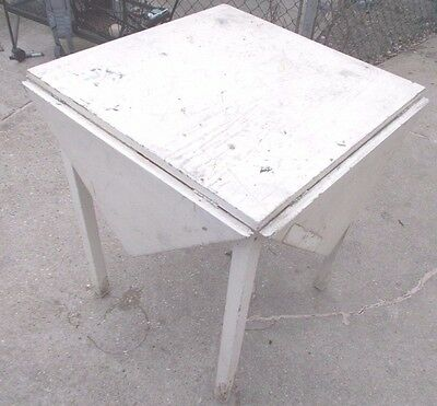Antique Wood Drop Leaf Table PRIMITIVE SHABBY VINTAGE OLD ESTATE FIND CHIPPY