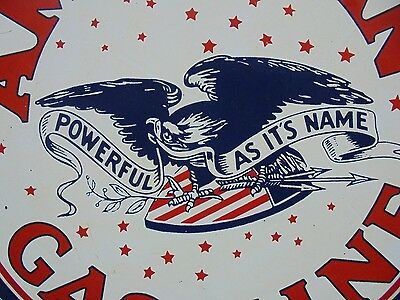 Vintage American Gasoline porcelain gas pump sign Powerful As It's Name Eagle