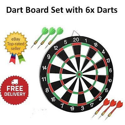 Dart Board Set 6 Darts Double Sided Front Back Game Hanging Hook Practice Match