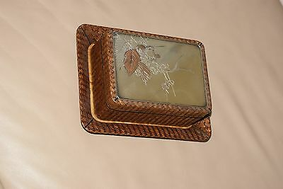 Antique Japanese Meiji  Pure Silver Mounted and Basket Weave Trinket