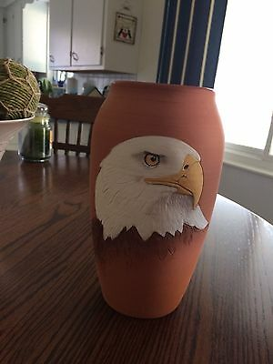 """Studio Art Pottery Signed Vase Hand Crafted 9-1/2"""" X 4"""" with Eagle"""