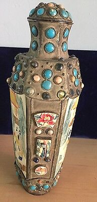 chinese metal snuff  bottle with stones vintage