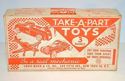 Rare Vintage 1950s Marx Deluxe Take-A-Part Plastic Vehicles 3-In-1 Box