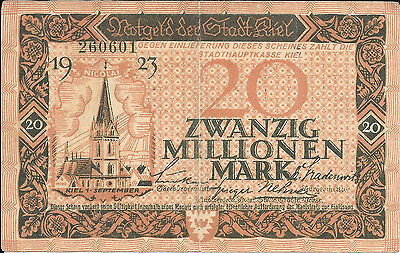 GERMANY REICHSBANKNOTE 20 Zwanzig MILLION MARK KIEL 1923