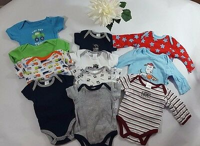 Infant Sz 0-3 mo Lot of Baby Boy Clothes EUC 11 pcs Snap Bottom Shirts