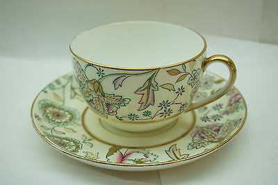 ANTIQUE WEDGWOOD CUP SAUCER 1800s HAND PAINTED FLORAL PATTERN GOLD OLD MARK