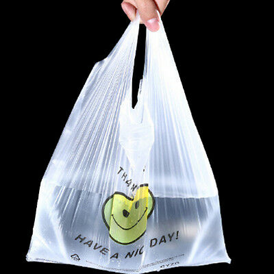 100pcs Carry Out Retail Supermarket Grocery White Plastic Shopping Bag 38 x 58cm
