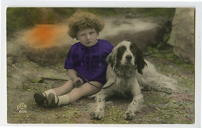 1920s Young Child with DOG Spaniel ? French photo postcard