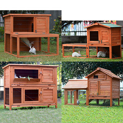 Rabbit Hutch Chicken Coop Guinea Pig Cage Hen Chook House Run Ferret