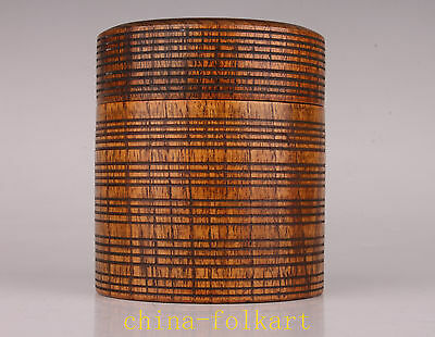 Solid Wood Carving Japanese Thread Sculpture Tea Caddy Pot Vintage Collectable O