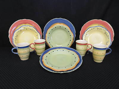 12pc Pfaltzgraff PISTOULET 3pc Dinner Salad Plates & Mugs, Service for 4, Mexico