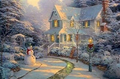 Large Festive Snowman Winter Christmas Snow Scene Light Up LED Canvas/Picture