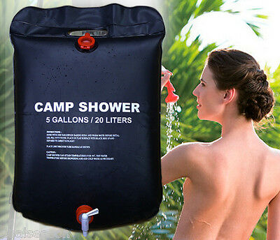 Trail 20L Solar Shower Bag Heated Water Outdoor Hiking Camping PVC